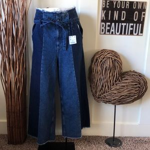 Zara Basic Z1975 Denim high waisted wide leg jean